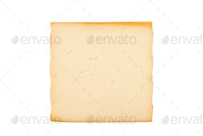 one smoked cheese slice on white background