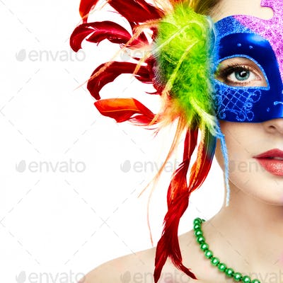 Beautiful woman in mysterious rainbow Venetian mask