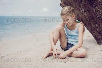Portrait of one sad little girl.