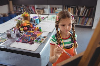 High angle view of girl painting on canvas