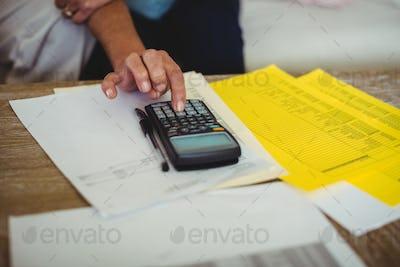 Senior couple calculating bills in living room