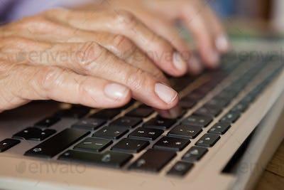 Close up of senior woman using laptop