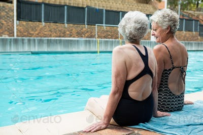 Senior women interacting with each other while relaxing