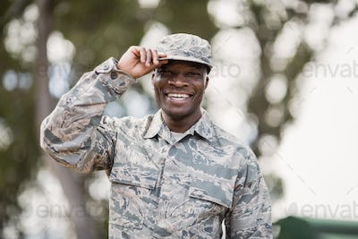 Portrait of happy military soldier
