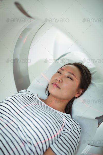 Close-up of patient undergoing CT scan test