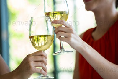 Women toasting wine glasses in restaurant