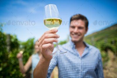 Young man holding wineglass at vineyard