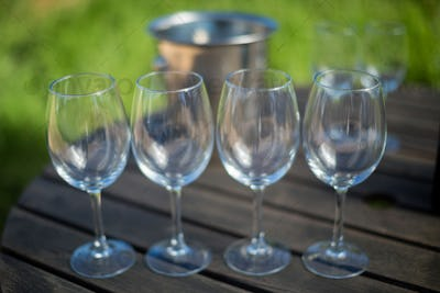 Close up of empty wineglasses on table