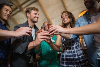 Friends toasting shot glasses in bar