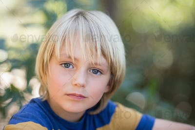 Close up portrait of cute little boy
