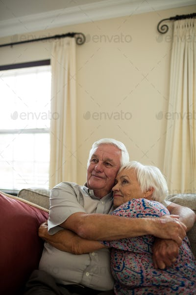 Happy senior couple embracing each other in living room