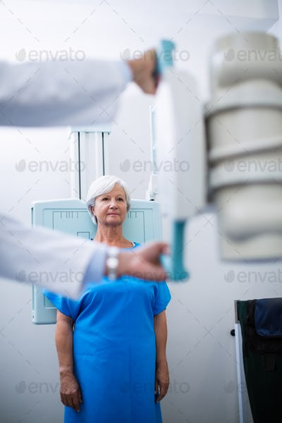 Senior woman undergoing an x-ray test