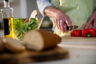 Senior man helping woman to cut vegetable in kitchen