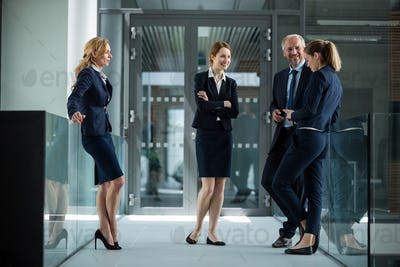 Businesspeople standing and having a discussion in office