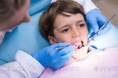 High angle view of dentist examining boy
