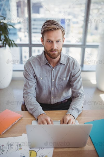 Portrait of handsome executive using laptop at desk