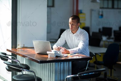 Attentive businessman working at desk