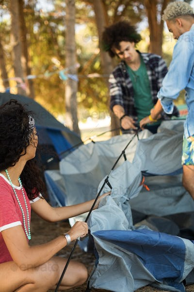 Young woman with male friends setting up tent