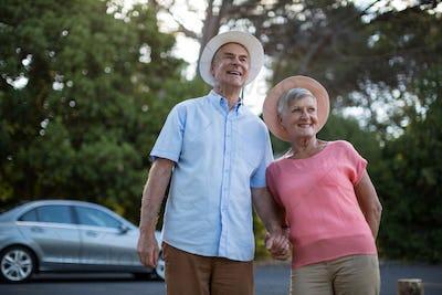 Senior couple standing at roadside