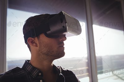 Businessman using virtual reality technology