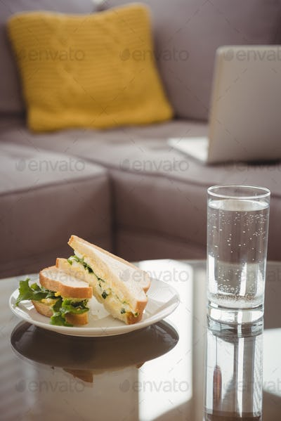 Close up of food in plate by drinking glass