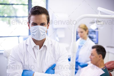 Portrait of dentist wearing surgical mask