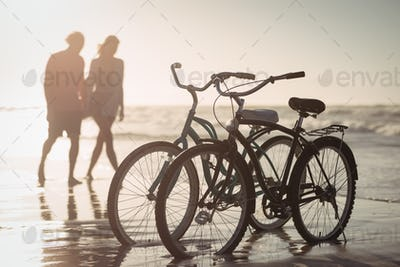 Bicycles parking on shore with couple in background