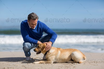 Mature man with his dog on the beach