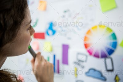 Thoughtful woman looking at adhesive notes