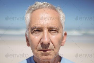 Close up portrait of senior man at beach