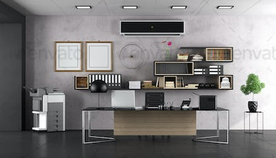 Modern office with large desk