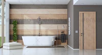 Contemporary bathroom with bathtub