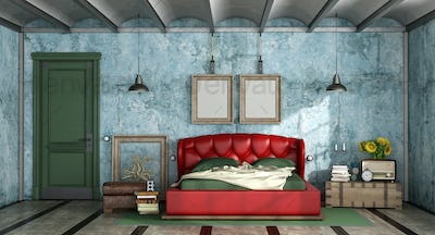 Colorful bedroom in retro style