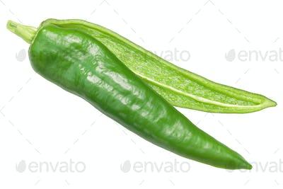 Numex Espanola Improved pepper split, top view