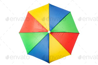 Beach umbrella multicolour, isolated on a white background