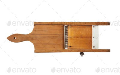 Vintage wooden slicer isolated on white background