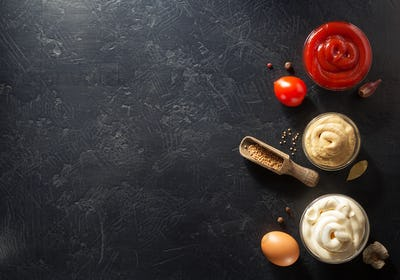 tomato sauce, mayonnaise and mustard in bowl