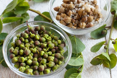 Fresh and salted capers