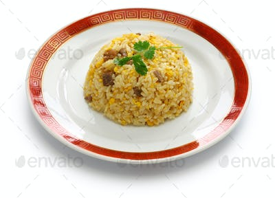fried rice, chinese cuisine isolated on white background