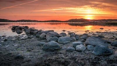 Beautiful sunset over Baltic sea near Gothenburg city, Sweden