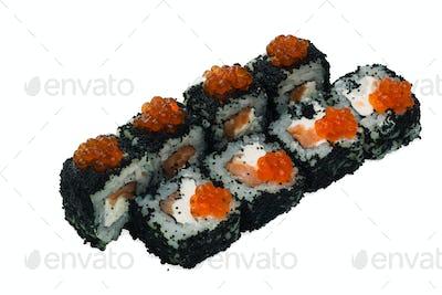 Asian cuisine. Japanese cuisine. Sushi rolls on a white background