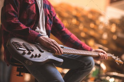 Man with a bass guitar