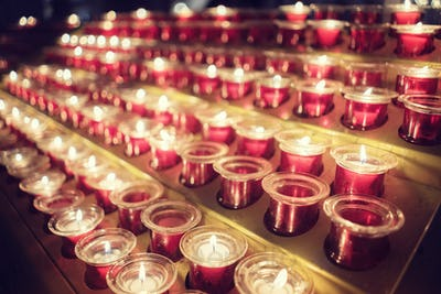 Memorial candles in church