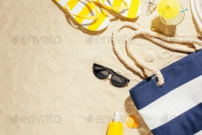 Beach accessories on the sand.