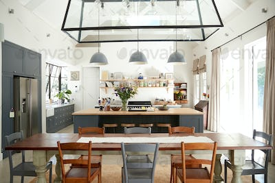 Open plan kitchen diner in a period conversion family home