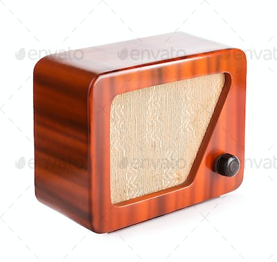 Old Wooden Radio Isolated with Clipping Path.