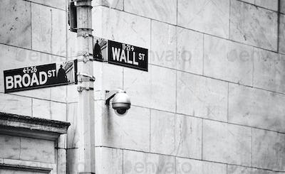 Wall Street and Broad Street signs, New York.