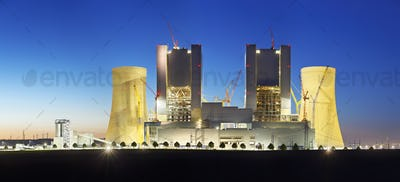 Power Station Construction Site At Night Panorama