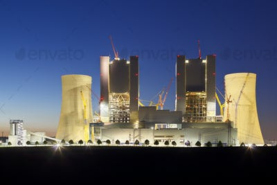 Power Station Construction Site At Night