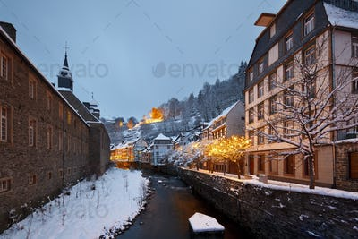 Christmassy Street At Night, Monschau, Germany